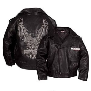 Harley Davidson boys upwing eagle biker jacket